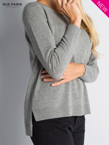 Szary sweter z rozporkami i dłuższym tyłem                                  zdj.                                  4