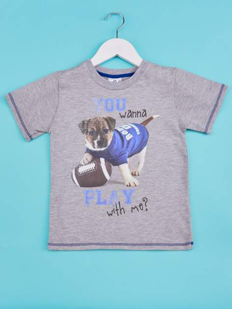 Szary t-shirt chłopięcy z nadrukiem szczeniaczka                                  zdj.                                  1