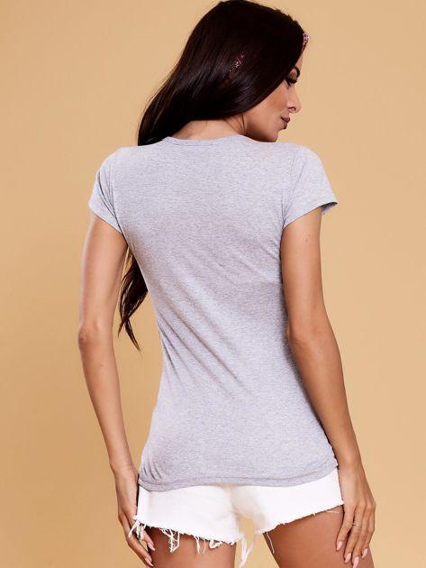 Szary t-shirt damski NOTHING                              zdj.                              2