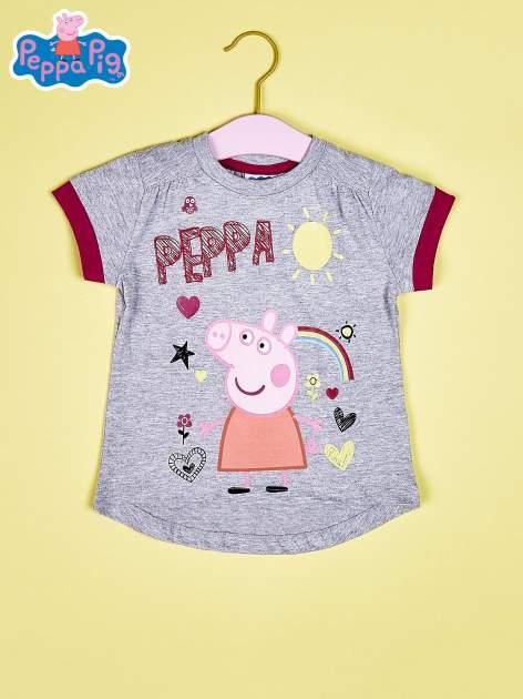 Szary t-shirt dla dziewczynki ŚWINKA PEPPA                                  zdj.                                  1