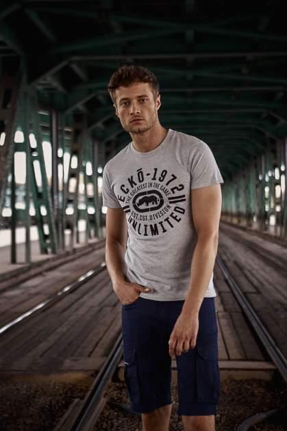 Szary t-shirt męski z czarnym logiem                                  zdj.                                  1