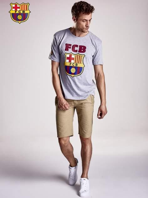 Szary t-shirt męski z motywem FC BARCELONA                                  zdj.                                  5