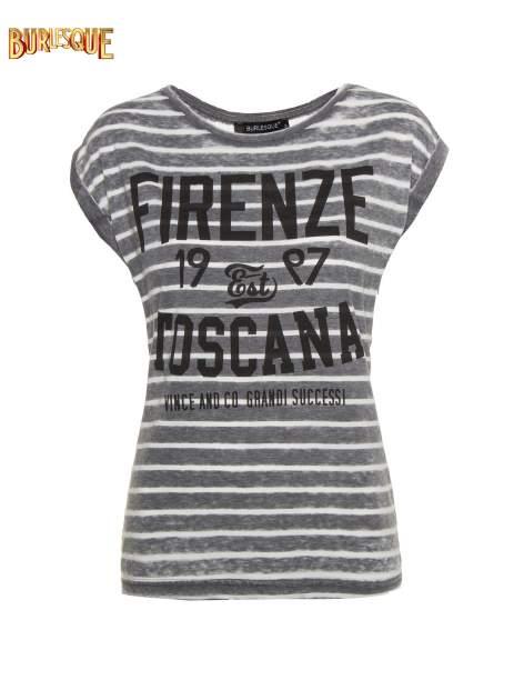 Szary t-shirt w paski z napisem FIRENZE TOSCANA                                  zdj.                                  1