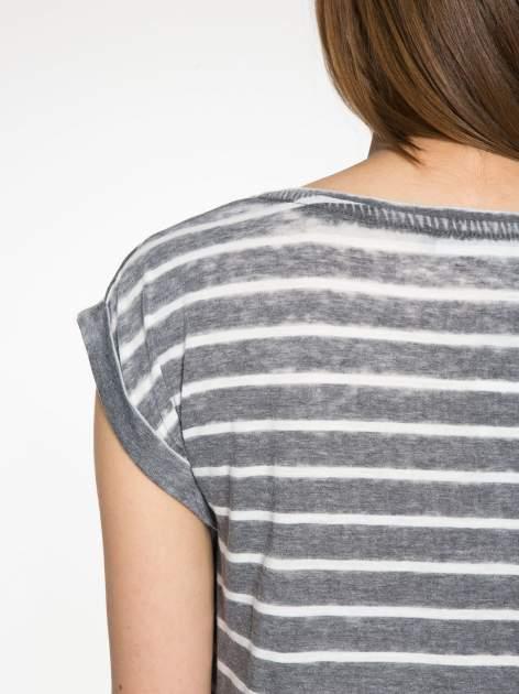 Szary t-shirt w paski z napisem FIRENZE TOSCANA                                  zdj.                                  9