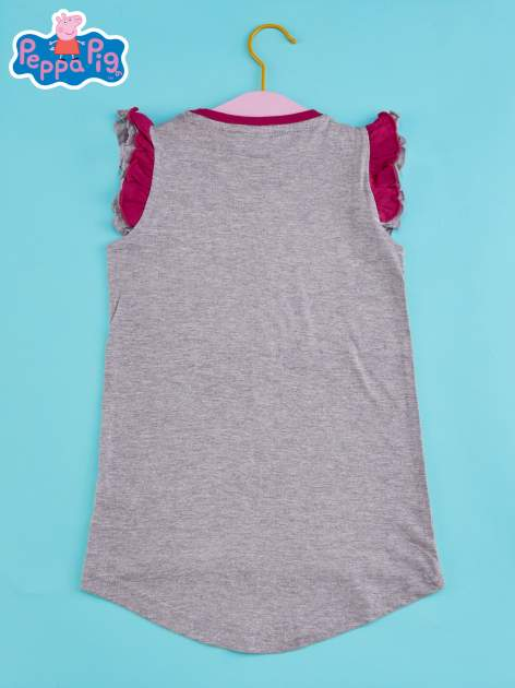 Szary t-shirt z falbankami na rękawach dla dziewczynki ŚWINKA PEPPA                                  zdj.                                  2