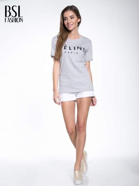 Szary t-shirt z modowym napisem CÉLINE PARIS                                  zdj.                                  5