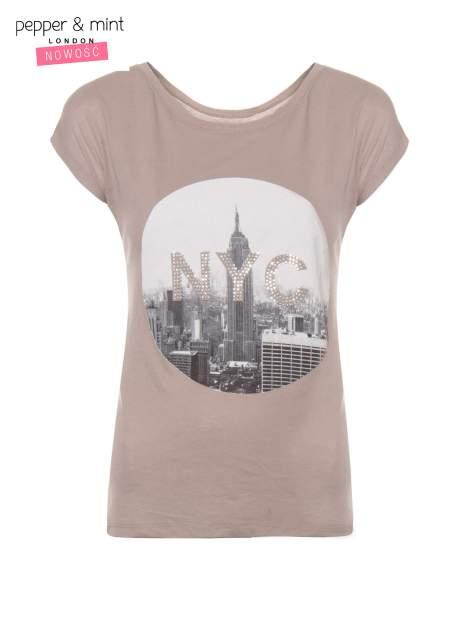 Szary t-shirt z nadrukiem NYC zdobiony dżetami                                  zdj.                                  2
