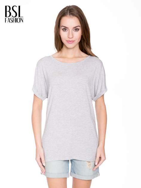 Szary t-shirt z nadrukiem ROCK na plecach                                  zdj.                                  1