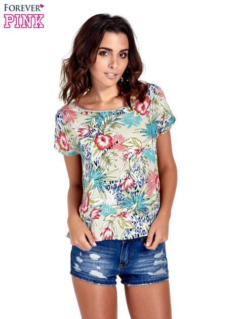 Szary t-shirt z nadrukiem floral print