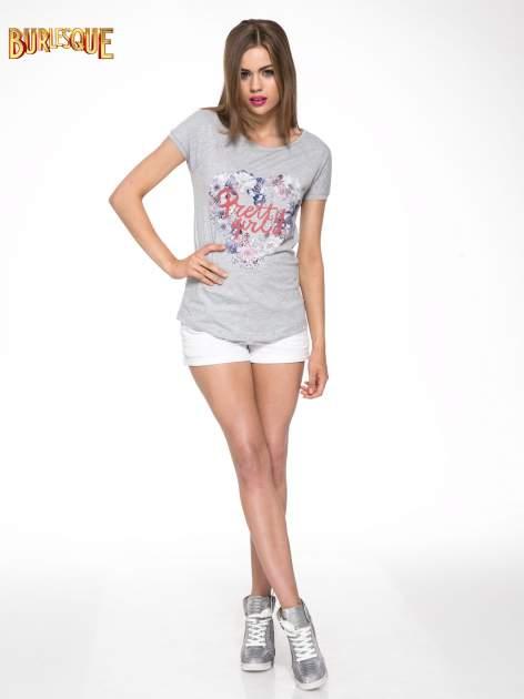 Szary t-shirt z nadrukiem kwiatowym PRETTY GIRL                                  zdj.                                  2