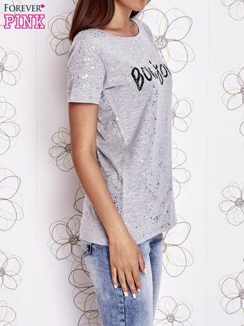 Szary t-shirt z napisem BONJOUR                                  zdj.                                  3