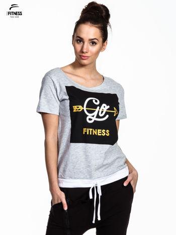 Szary t-shirt z napisem GO FITNESS                                  zdj.                                  1