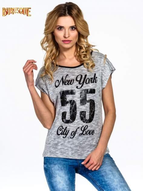 Szary t-shirt z napisem NEW YORK CITY OF LOVE 55