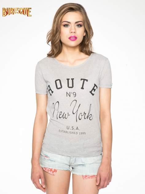 Szary t-shirt z napisem ROUTE NEW YORK                                  zdj.                                  11
