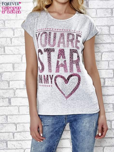 Szary t-shirt z napisem YOU ARE STAR IN MY HEART z dżetami