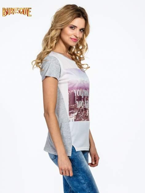 Szary t-shirt z napisem YOU THINK BIG YOU GET BIG                                  zdj.                                  3