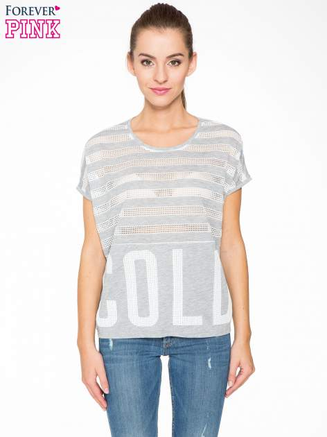 Szary t-shirt z siatkowym wzorem w stylu baseballowym                                  zdj.                                  1