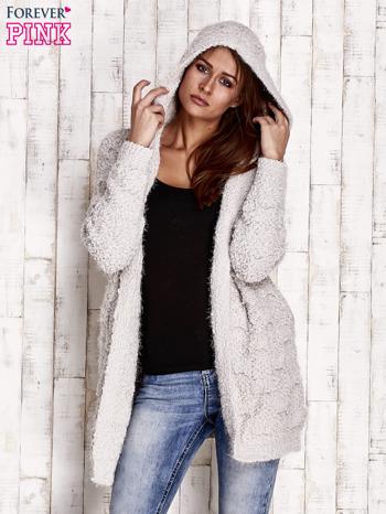 Szary włochaty sweter z kapturem                                  zdj.                                  5
