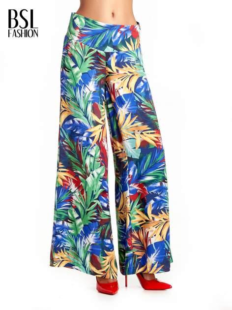 Szerokie spodnie culottes z egzotycznym nadrukiem                                  zdj.                                  1