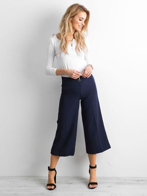 Szerokie spodnie z lampasami granatowe                              zdj.                              4