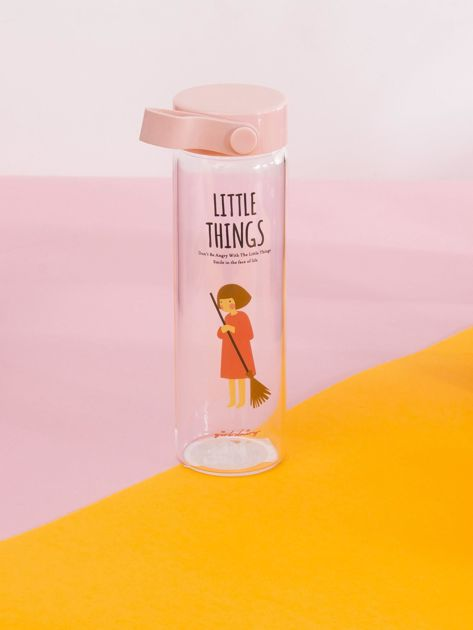 Szklana butelka na napój różowa                              zdj.                              1