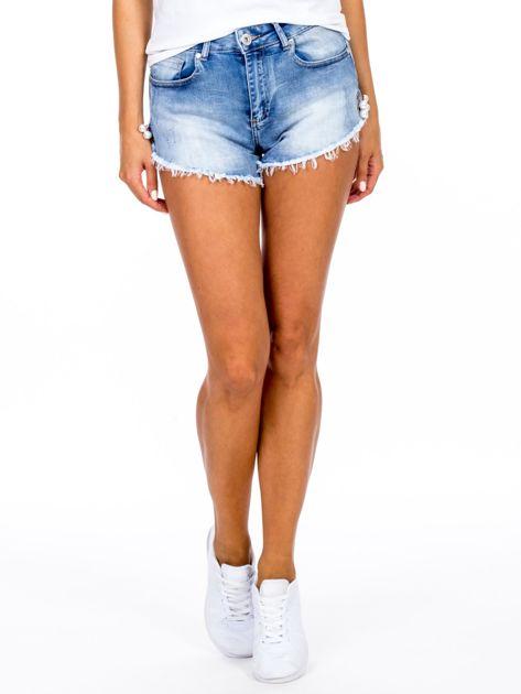Szorty jeansowe niebieskie z ozdobną aplikacją                              zdj.                              1