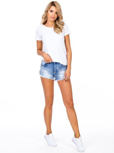 Szorty jeansowe niebieskie z ozdobną aplikacją                              zdj.                              4