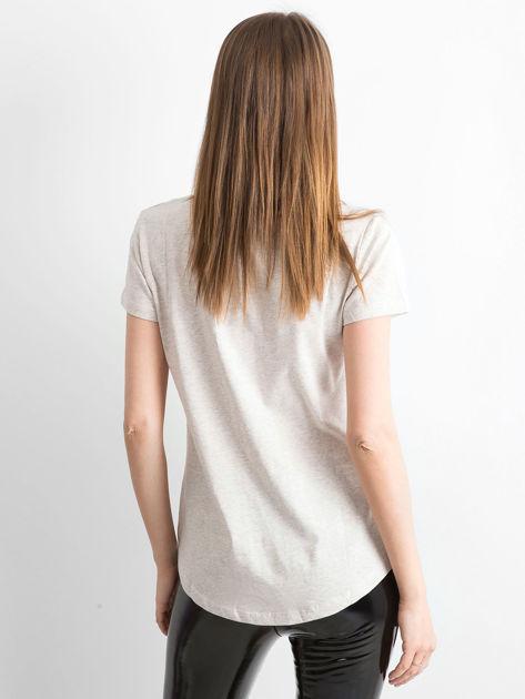 T-shirt beżowy Young                              zdj.                              2