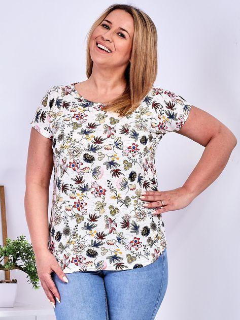 T-shirt beżowy w kolorowe kwiaty PLUS SIZE                              zdj.                              1