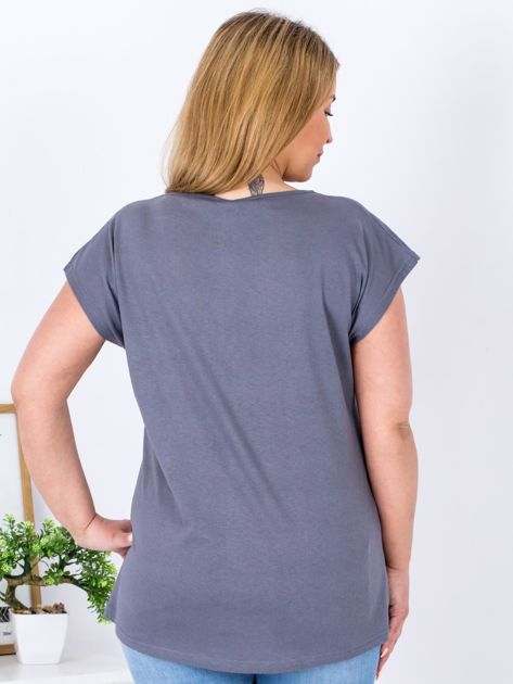 T-shirt ciemnoszary z nadrukiem PLUS SIZE                              zdj.                              2