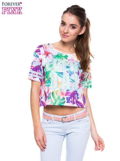 T-shirt crop top z exotic printem                                  zdj.                                  1