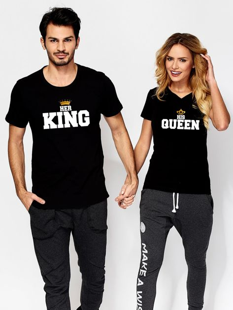 T-shirt czarny QUEEN dla par                                  zdj.                                  3