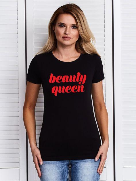 T-shirt czarny z nadrukiem BEAUTY QUEEN                              zdj.                              1