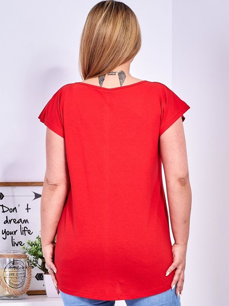 T-shirt czerwony z nadrukiem roślinnym PLUS SIZE                                  zdj.                                  2