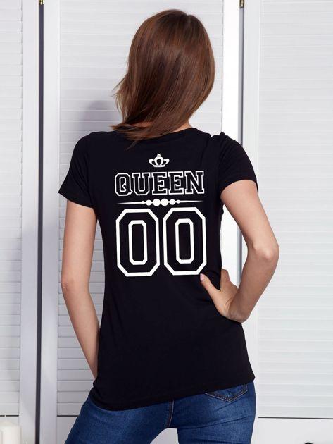 T-shirt damski V-neck QUEEN czarny dla par                                  zdj.                                  1