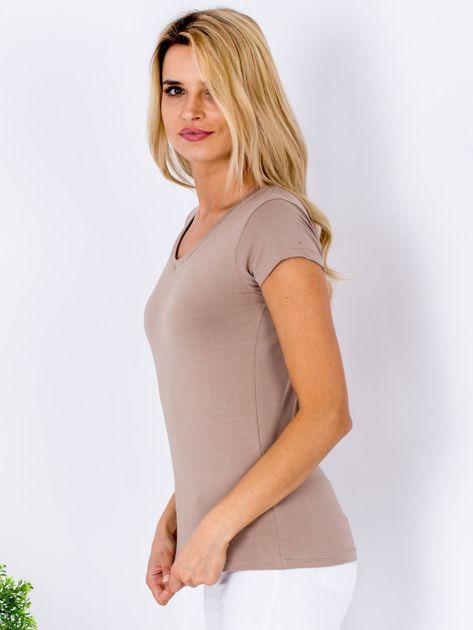 T-shirt damski beżowy V-neck                              zdj.                              5