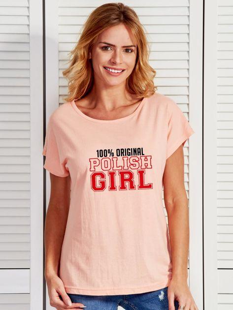 T-shirt damski patriotyczny 100% ORIGINAL POLISH GIRL łososiowy                                  zdj.                                  1