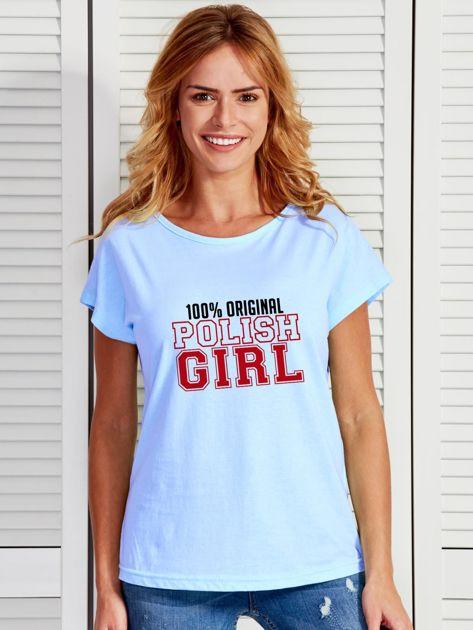 T-shirt damski patriotyczny 100% ORIGINAL POLISH GIRL niebieski                              zdj.                              1
