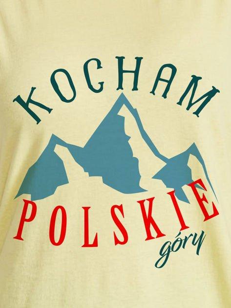 T-shirt damski patriotyczny KOCHAM POLSKIE GÓRY żółty                                  zdj.                                  2