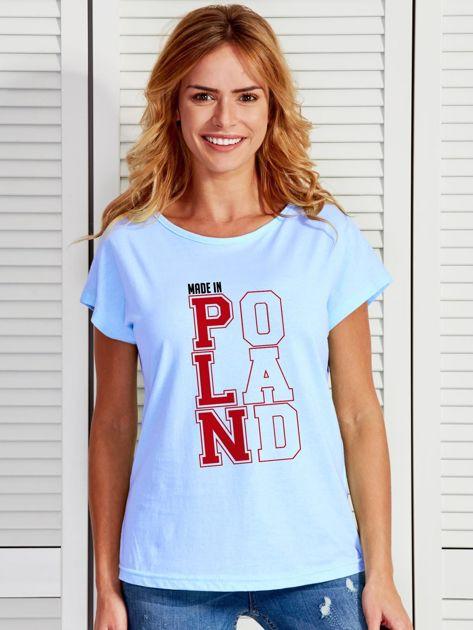 T-shirt damski patriotyczny MADE IN POLAND niebieski                              zdj.                              1
