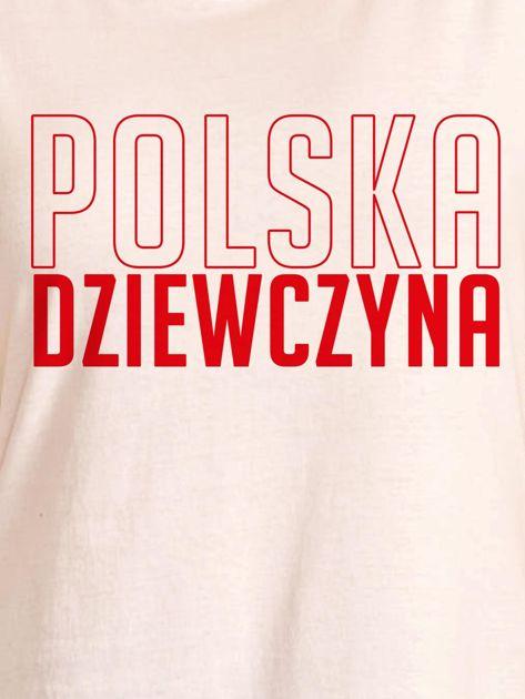 T-shirt damski patriotyczny POLSKA DZIEWCZYNA ecru                              zdj.                              2