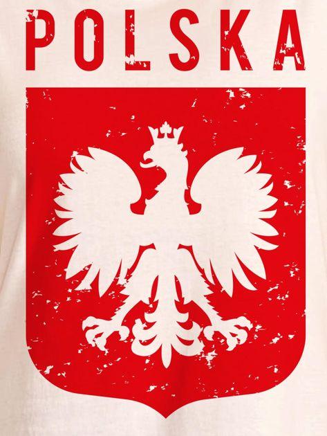 T-shirt damski patriotyczny POLSKA z Orłem Białym ecru                              zdj.                              2