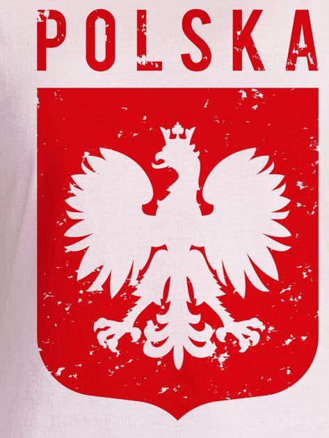 T-shirt damski patriotyczny POLSKA z Orłem Białym jasnoróżowy                                  zdj.                                  2