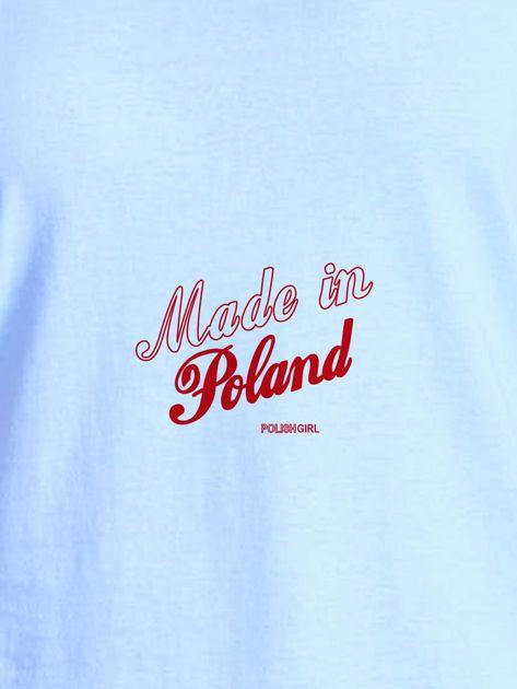T-shirt damski patriotyczny z delikatnym nadrukiem niebieski                              zdj.                              2