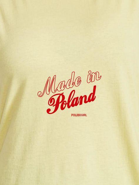 T-shirt damski patriotyczny z delikatnym nadrukiem żółty                              zdj.                              2