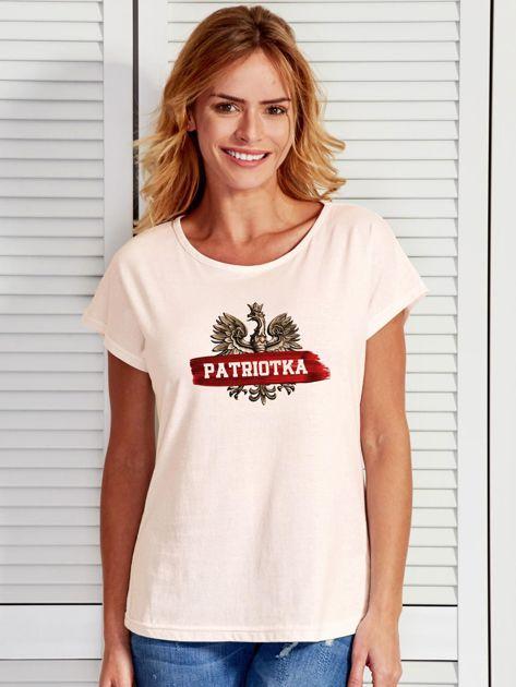 T-shirt damski patriotyczny z nadrukiem Orła Białego ecru                                  zdj.                                  1