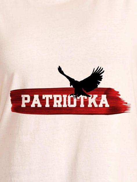 T-shirt damski patriotyczny z orłem PATRIOTKA ecru                                  zdj.                                  2