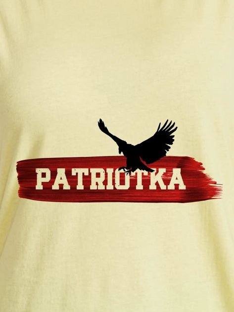 T-shirt damski patriotyczny z orłem PATRIOTKA żółty                              zdj.                              2