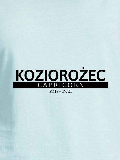 T-shirt damski z nadrukiem znaku zodiaku KOZIOROŻEC miętowy                              zdj.                              2