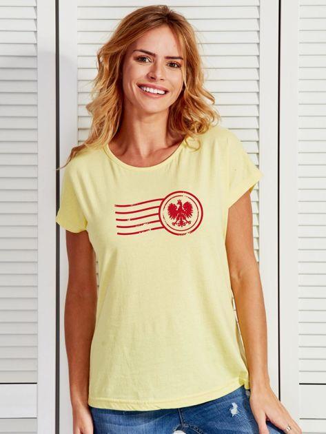 T-shirt damski z patriotycznym nadrukiem żółty                              zdj.                              1